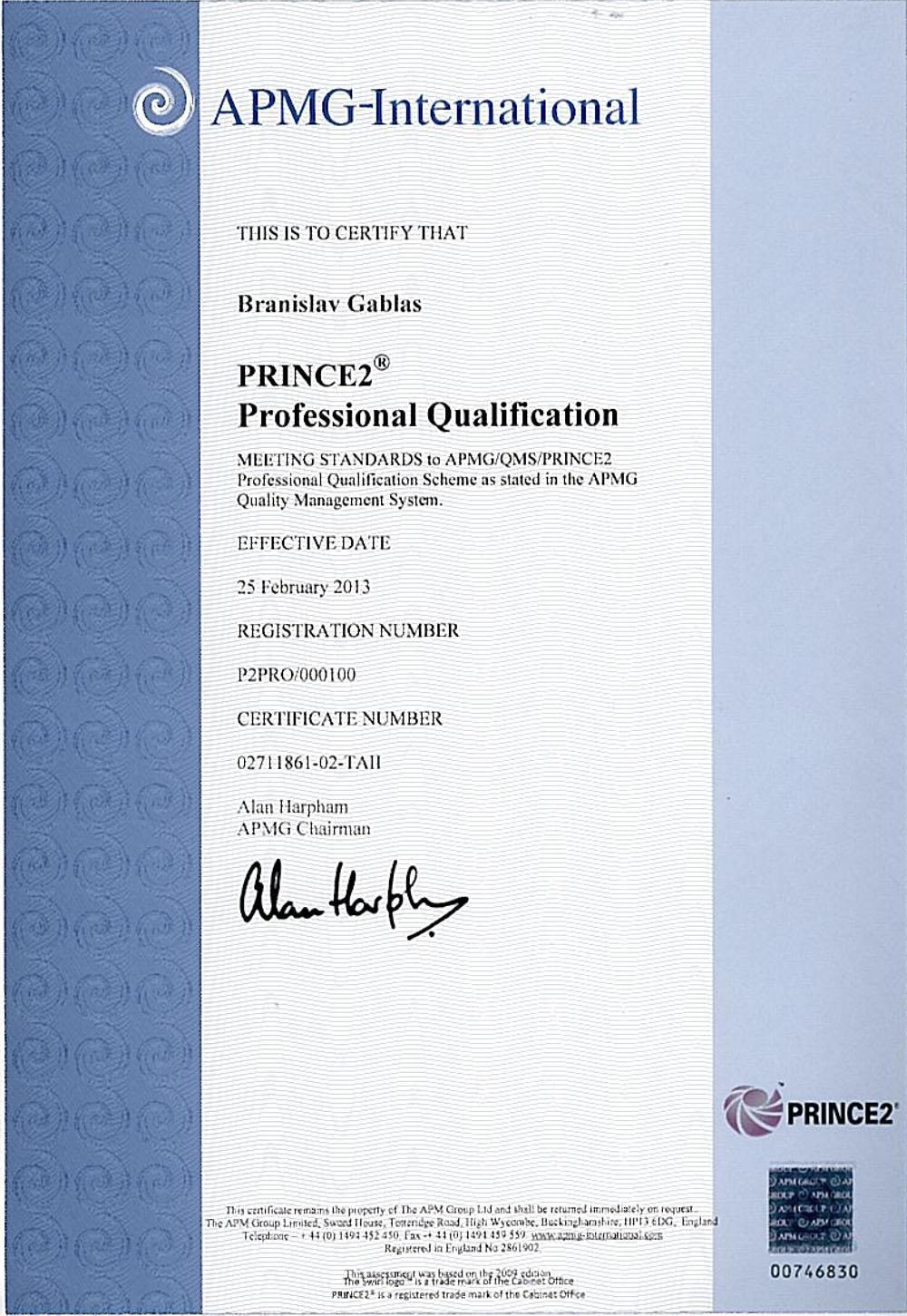 Certifikát PRINCE2 Professional Branislav Gablas