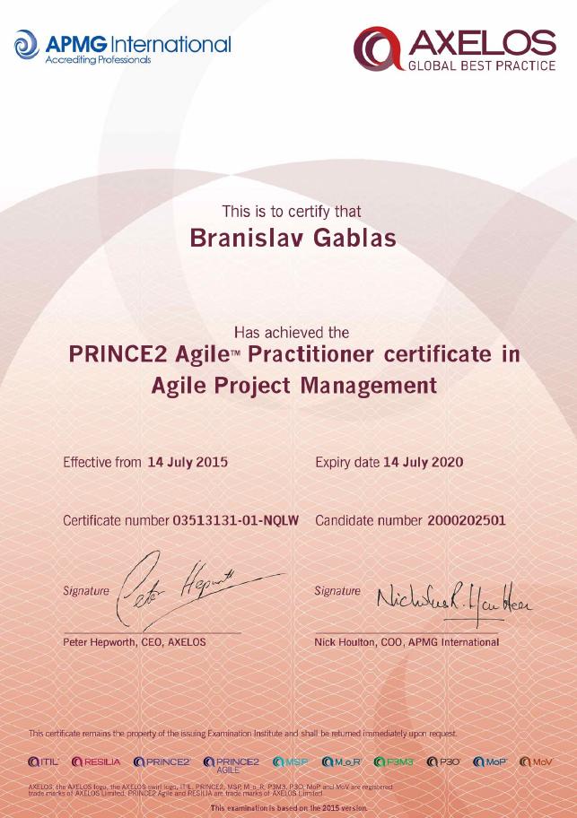 Certifikát PRINCE2 Agile Practitioner